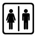Women's And Men's Toilets Sign, Black On White